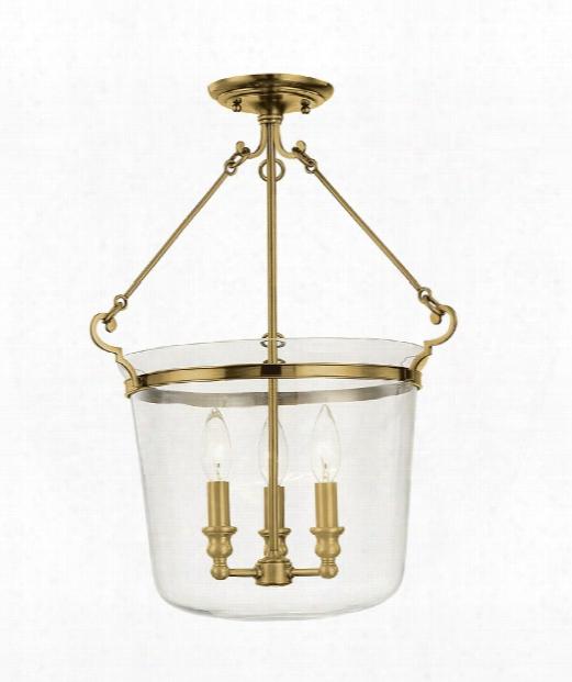 "Quinton 16"" 3 Light Semi Flush Mount In Aged Brass"