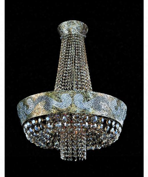 Romanov Led 11 Light Large Pendant In Antique Silver Leaf