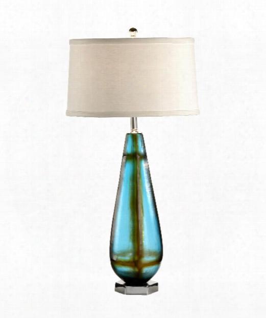 Slender Vase 1 Light Table Lamp In Blue Art Glass