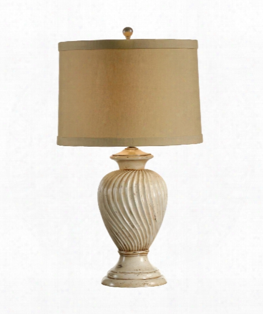 Swirled Urn 1 Light Table Lamp In Old Worn White