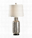 Carved 1 Light Table Lamp in Silver With Black
