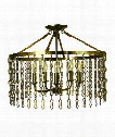 "Warwick 22"" 5 Light Semi Flush Mount in Antique Brass"