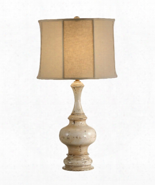 Turned Urn 1 Light Table Lamp In Old White Paint