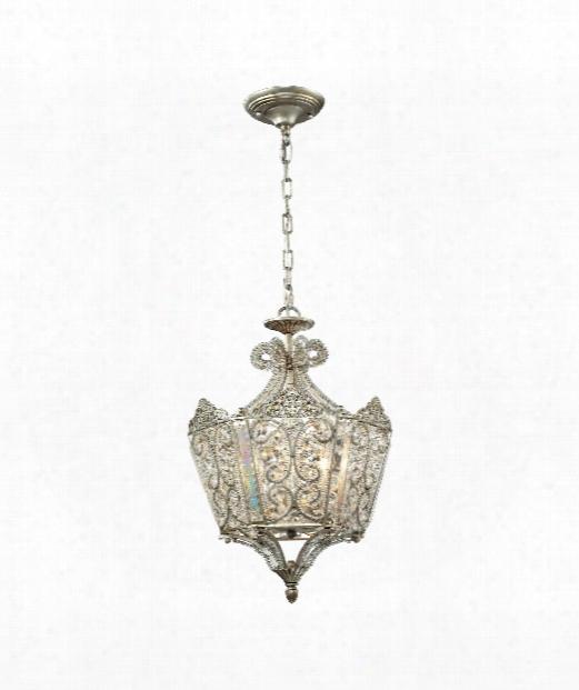 "Villegosa 10"" 6 Light Large Pendant In Aged Silver"