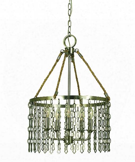 """Warwick 17"""" 5 Light Mini Chandelier In Antique Brass"""