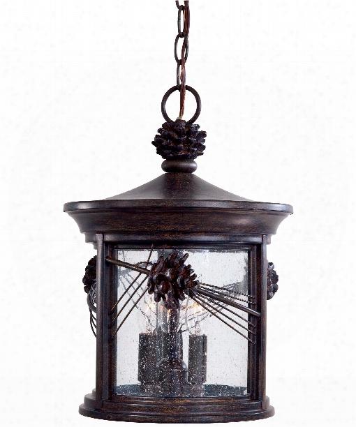 "Abbey Lane 11"" 3 Light Outdoor Hanging Lantern In Iron Oxide"