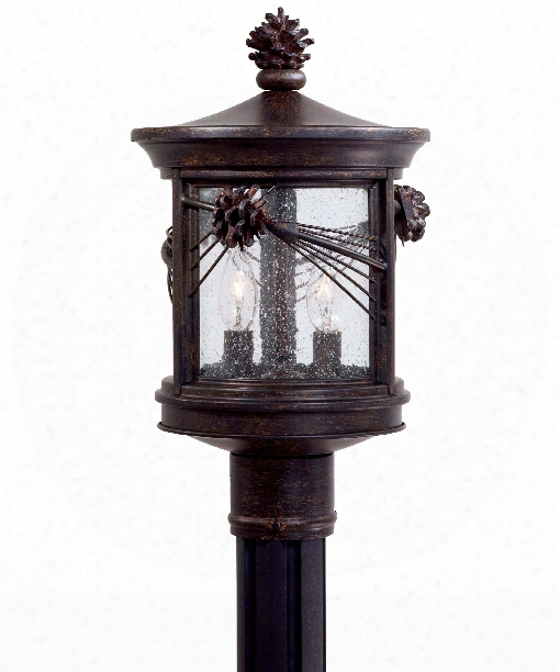"Abbey Lane 9"" 2 Light Outdoor Outdoor Post Lamp In Iron Oxide"