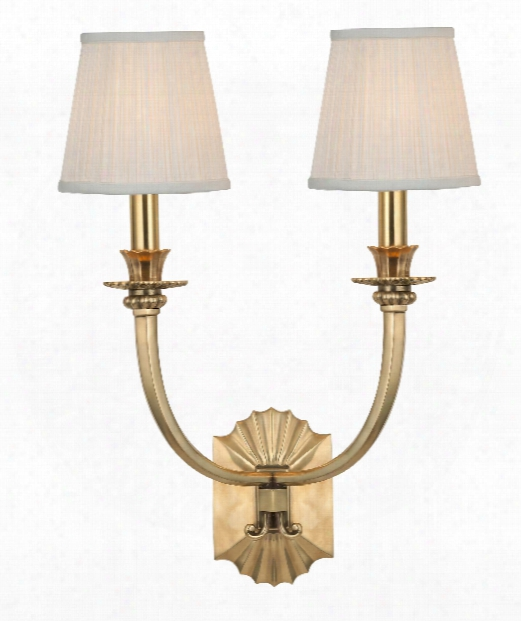 "Alden 15"" 2 Light Wall Sconce In Aged Brass"