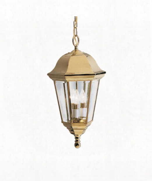 """Brownstone 12"""" 3 Light Outdoor Hanging Lantern In Polished Solid Brass"""