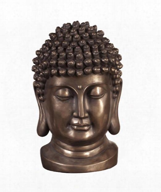 "Buddha 14"" Figurine In Bronze"