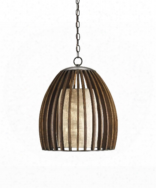 "Caring 17"" 1 Light Large Pendant In Old Iron-polished Fruitwood"