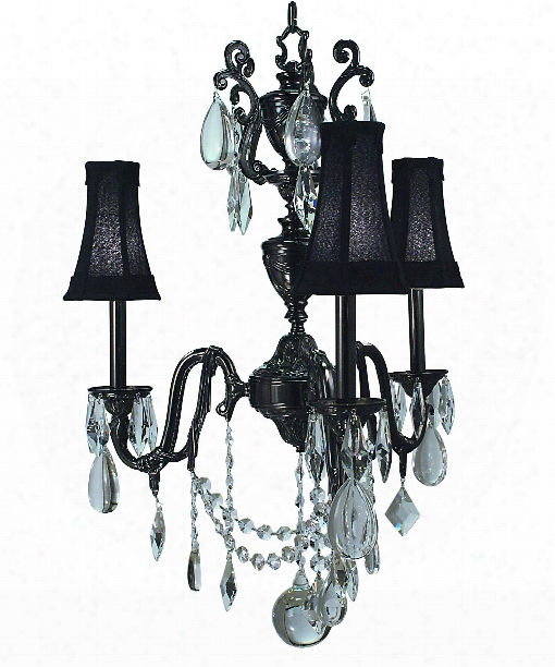 "Czarina 25"" 3 Light Chandelier In Antique Silver"