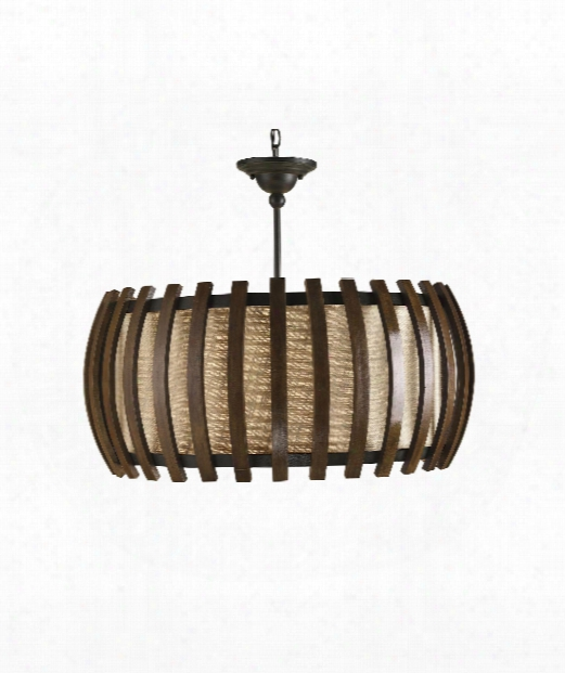 "Dado 28"" 1 Light Large Pendant In Old Iron-polished Fruitwood"