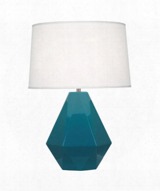 """Delta 10"""" 1 Light Table Lamp In Polished Nickel-peacock"""