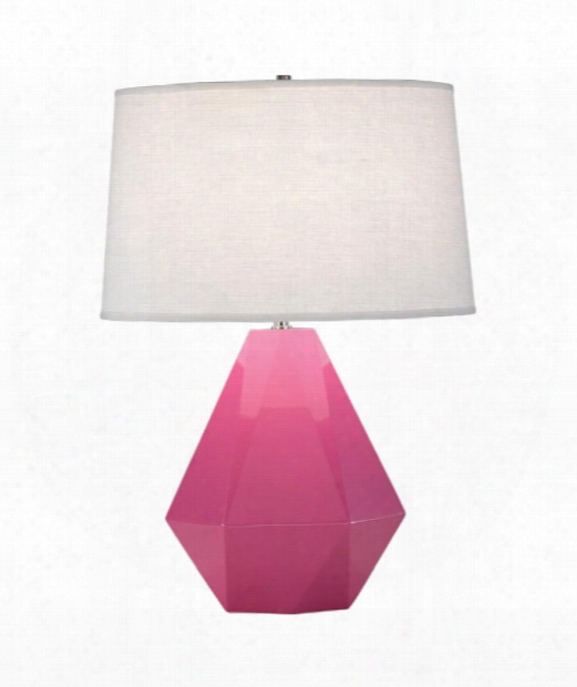 "Delta 10"" 1 Light Table Lamp In Polished Nickel-schiaparelli Pink"
