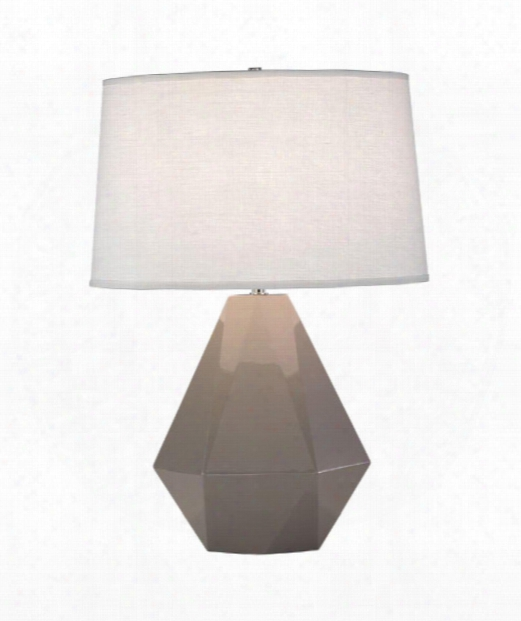 "Delta 10"" 1 Light Table Lamp In Polished Nickel-smokey Taupe"