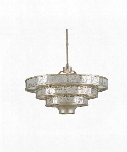 """Frappe 24"""" 3 Light Large Pendant In Silver Granello-raj Mirror"""