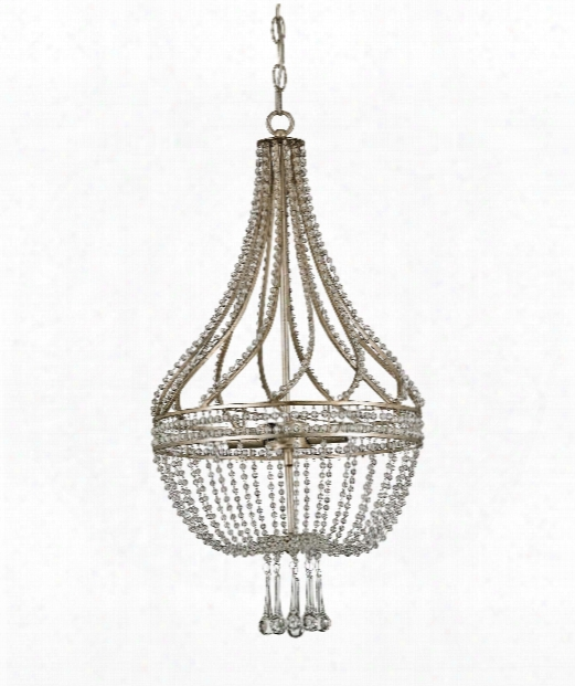 """Ingnue 14"""" 4 Light Mini Chandelier In Chinois Antique Silver Leaf"""