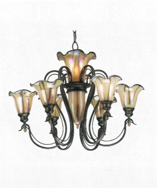 "Inverness 31"" 9 Light Chandelier In Tuscan Silver"
