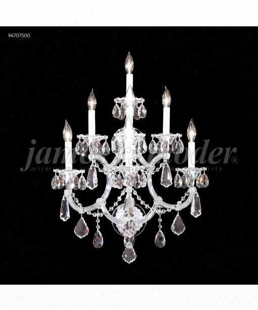 "Maria Theresa Royal 19"" 7 Light Wall Sconce In Silver"