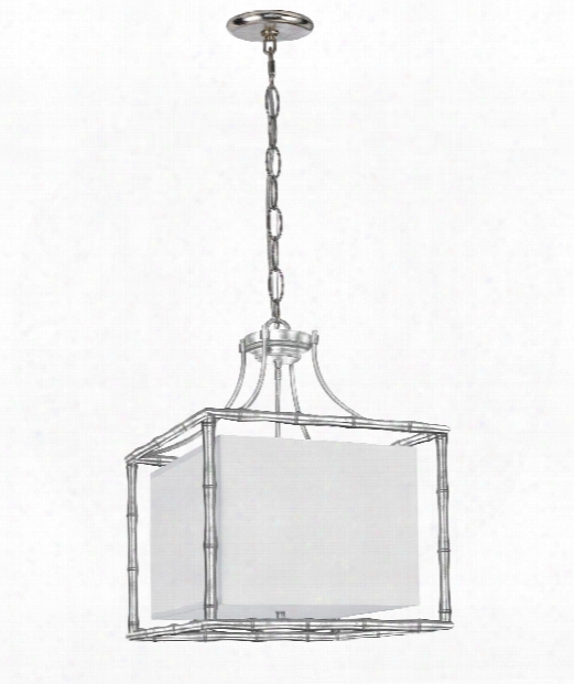 "Masefield 19"" 4 Light Large Pendant In Antique Silver"