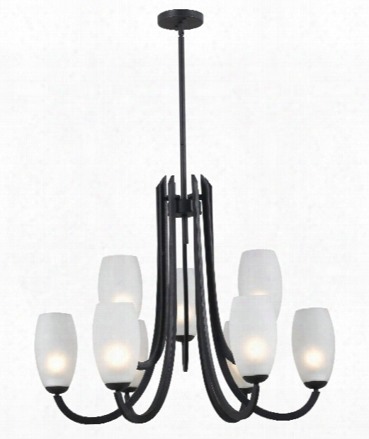 "Mirage 31"" 9 Light Chandelier In Frosted Graphite"
