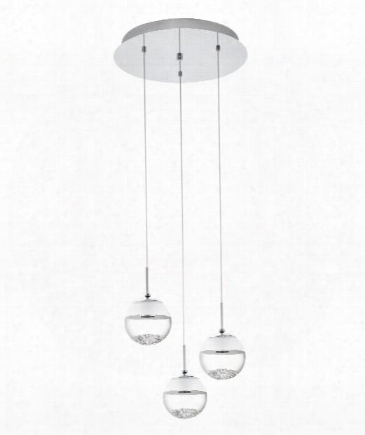 """Montefio 16"""" Led 3 Light Multi Pendant Light In Chrome"""