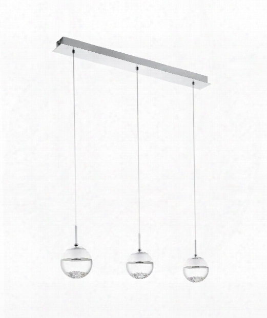 "Montefio 34"" Led 3 Light Multi Pendant Light In Chrome"