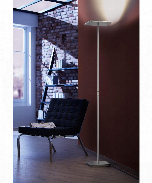 "Platz 12"" Led 4 Light Torchiere Lamp In Brushed Aluminum"