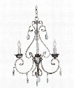"Antoinette 17"" 3 Light Mini Chandelier in Weathered Silver"