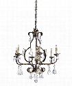 "Tuscan 27"" 6 Light Chandelier in Venetian-Gold Leaf-Swarovski Crystal"