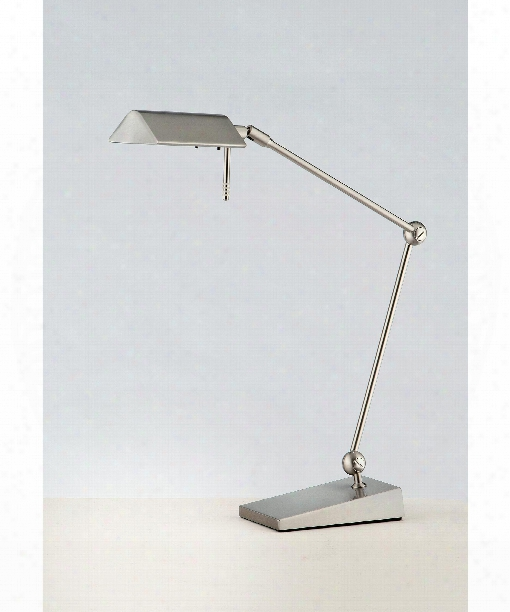 "Two-tone Led Series 15"" Led 2 Light Desk Lamp In Satin Nickel"