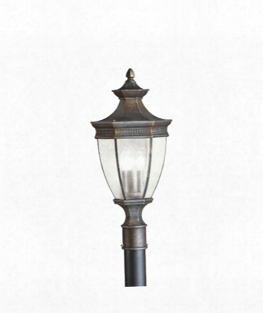 "Warrington 12"" 3 Light Outdoor Outdoor Post Lamp In Tannery Bronze"