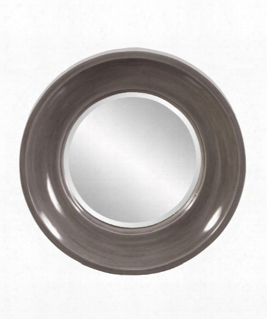 """Wilton 24"""" Wall Mirror In Glossy Charcoal Gray Lacquer"""