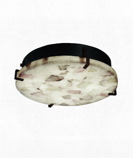 "Alabaster Rocks 17"" 4 Light Flush Mount In Dark Bronze"