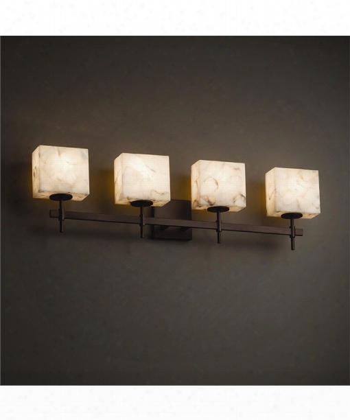 "Alabaster Rocks 33"" 4 Light Bath Vanity Light In Dark Bronze"
