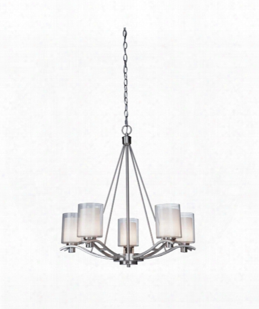 "Andover 27"" 5 Light Chandelier In Polished Nickel"
