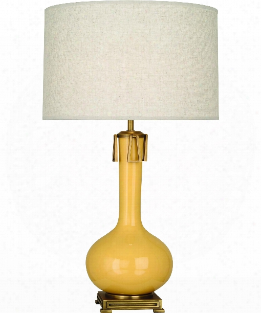 """Athena 9"""" 1 Light Table Lamp In Aged Brass-amethyst"""