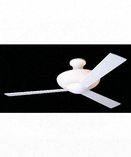 Aurora 1 Light Flush Mount Fan In Gloss White