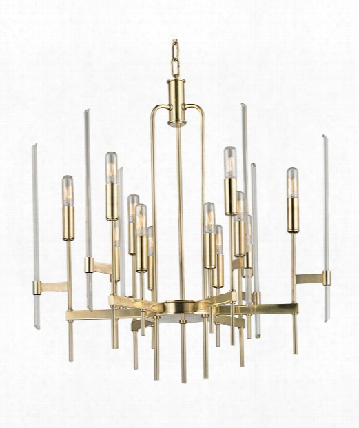 "Bari 24"" 12 Light Chandelier In Aged Brass"