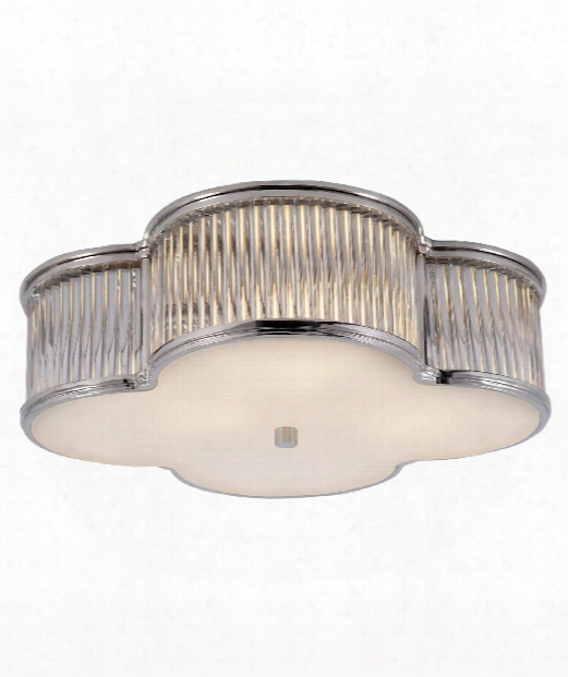 "Basil 17"" 3 Light Flush Mount In Polished Nickel With Clear Glass"