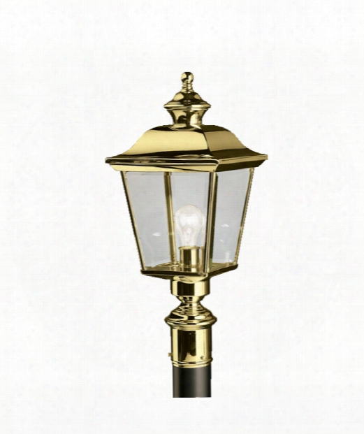 """Bay Shore 10"""" 1 Light Outdoor Outdoor Post Lamp In Polished Solid Brass"""