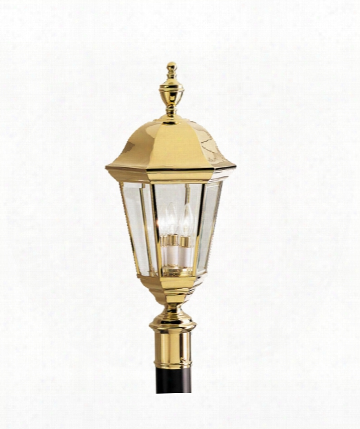 """Brownstone 12"""" 3 Light Outdoor Outdoor Post Lamp In Polished Solid Brass"""