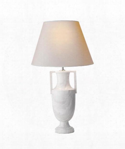 """Burt 15"""" 2 Light Table Lamp In White Marble"""