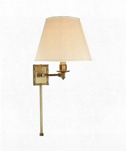 "Carole 12"" Wall Swing Lamp In Natural Brass"