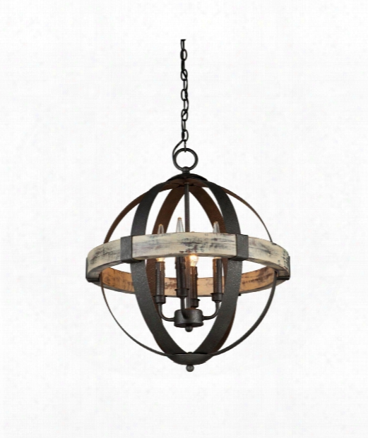 "Castello 20"" 4 Light Chandelier In Black"