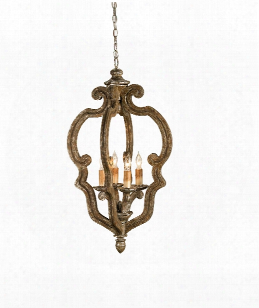"""Chancellor 20"""" 4 Light Mini Chandelier In Distressed Silver Leaf"""