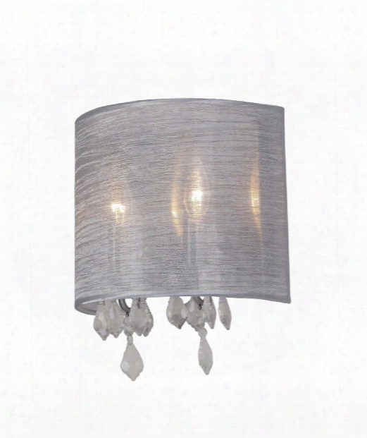 "Claremont Silk 9"" 2 Light Wall Sconce In Silver"