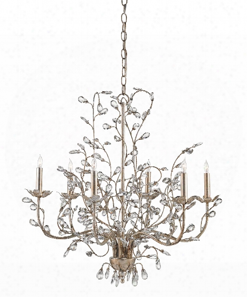 "Crystal Bud 28"" 6 Light Chandelier In Silver Granello"