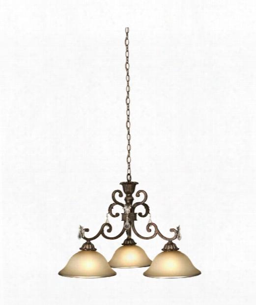 "Florence 31"" 3 Light Mini Chandelier In Bronze"